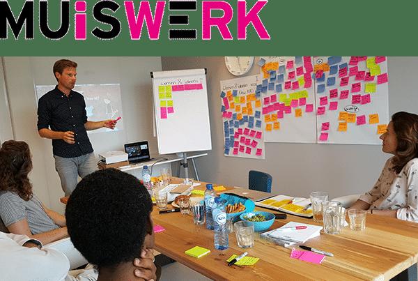 Muiswerk kick-off sessie met logo
