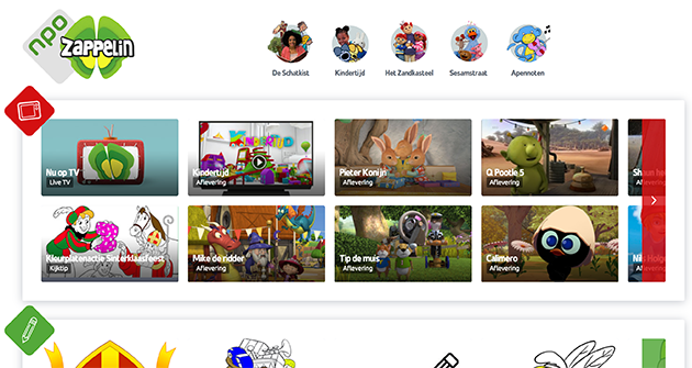 The Zappelin website uses colors and icons for different types of content. Also, they cut off content indicating that there is more to explore.